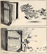 In this cartoon by John T. McCutcheon, the Baby New Year of 1905 runs old 1904 off into history .