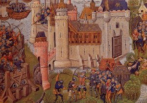 Siege of Mortagne near Bordeaux in 1377.