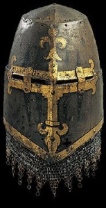 Fancy great helm with gilded cross and trim