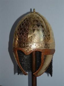 spangenhelm with cheek plates and  etching