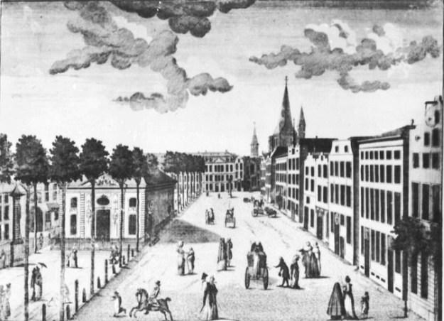 Dupuis, Charles (1752), Heumarkt mit Börse, Kupferstich, um 1790 (Köln, Kölnisches Stadtmuseum.  (Foto: © Rheinisches Bildarchiv Köln, rba_mf166753)